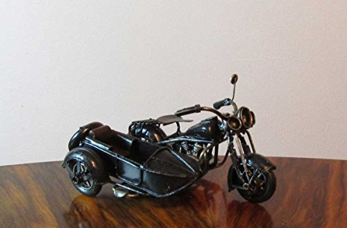 Nostalgie Blech Motorrad mit Beiwagen Schwarz kleines Modell