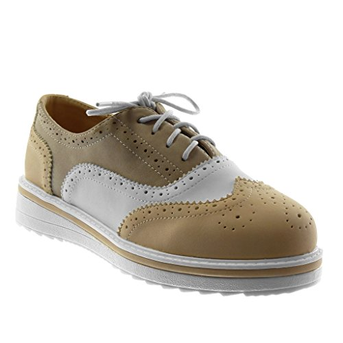 Angkorly Damen Schuhe Derby-Schuh - Sneaker Sohle - Plateauschuhe - Perforiert Flache Ferse 3.5 cm Camel