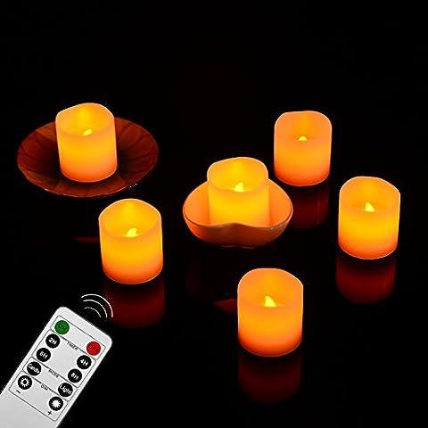 Gr4tec 6er LED Kerzen Teelichter Flammenlose Echtwachskerze mit Timerfunktion Fernbedienung Elektrische Kerze