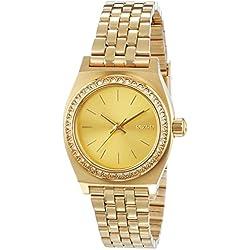 Nixon Small Time Teller - Reloj de cuarzo, correa de acero inoxidable color dorado