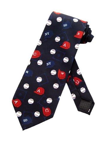 Parquet Mens Baseball Team Hats Necktie - Navy Blue - One Size Neck Tie