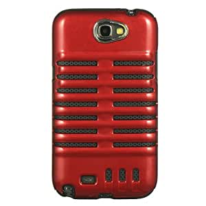 Dream Wireless Hybrid Skeleton Black Crystal Skin Case for Samsung Galaxy Note 2 - Retail Packaging - Red