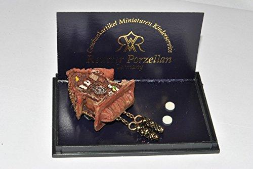 Unbekannt Miniatur Kuckucksuhr / Wanduhr - Maßstab 1:12 Porzellan / Kermik - Reutter - Puppenhaus Uhr Schwarzwald - Wohnzimmer Eßzimmer Nostalgie - für Puppenstube
