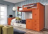 ambiato Kinderzimmer Vita 55 Hochbett mit Schubkastenmodulen und 2 ausziehbaren Schreibtischen