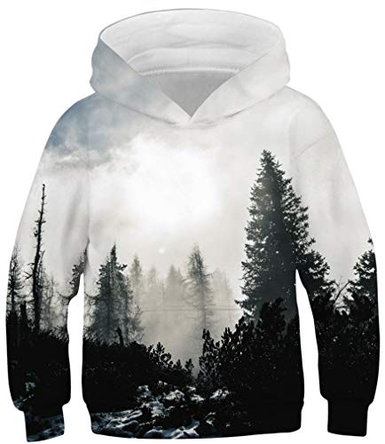 Ocean Plus Jungen Kapuzenpullover Bunt Teens Hoodie Kinder Langarm Pulli mit Kapuzen Sweatshirt Pullover (M (Körpergröße: 135-140cm), Nebeliger Wald)