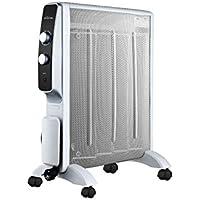 Calefactor Radiador Eléctrico Bajo Consumo con Panel de Mica hasta 2000 W Color Blanco con Ruedas