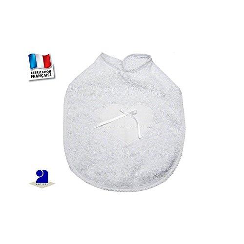 Poussin bleu - Bavoir baptême blanc, coeur et dentelle Couleur - Blanc f76c4774c3a