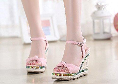 BaiLing Damen Sommer Sandalen / Wedge Ferse handgefertigte gestrickte Stroh wasserdicht / Bowknot dicke Boden / kleine Größe Schuhe Pink