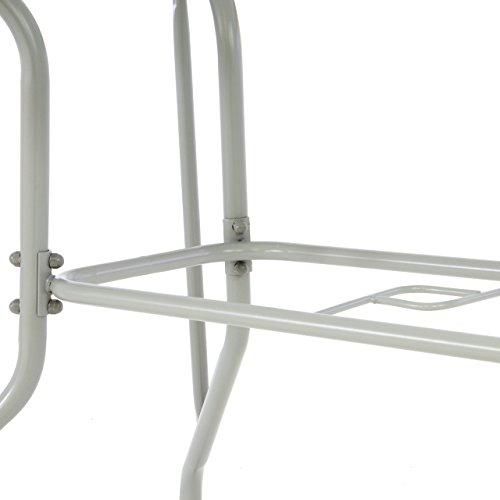 Nexos Bistrotisch eckig grau Balkontisch mit Glasplatte