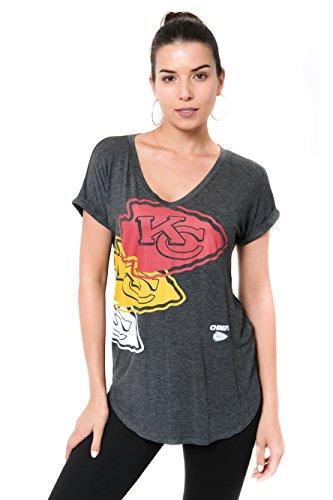 ICER Brands Damen T-Shirt NFL V-Ausschnitt Soft Modal Tee Shirt Team Color, Damen, Jersey T-Shirt Mesh Varsity Stripe Tee Shirt, Team Color, grau, Medium -