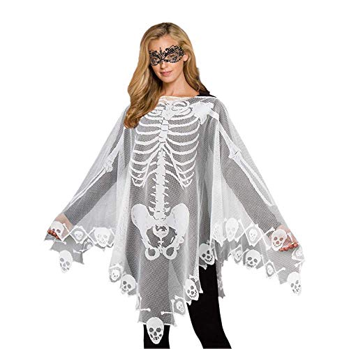Poncho Spinnennetz Kostüm - VYNOPA Damen Halloween Skeleton Lace Poncho Schädel Knochen Kostüme (Color : White-2 Pack)