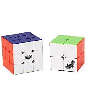 Vdealen Bundle Speed Cube 2x2 3x3 Stickerless Smooth Magic Cube Puzzles Toy Pack of 2