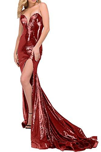 Sunvary Sexy Paillette Herzform Traeger Neu Abendkleider Partykleider Schleppe Rot