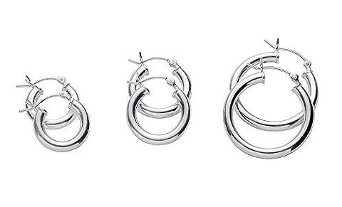 Lot de 3Paire de boucles d'oreilles créoles en argent sterling 925. 3mm de large