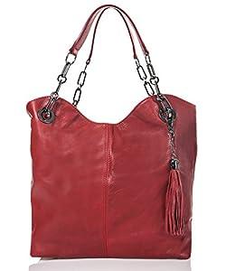 italienische Damen Handtasche Prag aus echtem Leder in klassischem rot, Made in Italy, Shopper Bag 42x28 cm