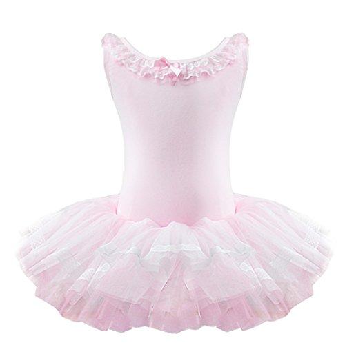 YiZYiF Kinder Mädchen Ballettkleid Ballettanzug Turnanzug Ballett Trikot Leotard Tütü mit Röckchen Rosa 122-128