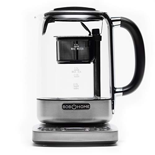 BOB HOME Teekochautomat TEATIME - automatischer Tee- und Wasserkocher, 2200 Watt, Timer, Temperatur- und Ziehzeitenregelung, Warmhaltefunktion, Edelstahlsieb, 1,7 Liter Wasserkocher, 1 Liter Teekocher
