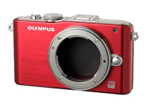 Olympus PEN E-PL3 Single Lens Kit 12.3MP Mirrorless System Camera (Red) with SD Card and PEN Camera Bag