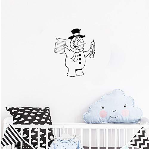 yangyueyue Wandaufkleber Für Kinderzimmer WohnkulturAufkleberWandkunst Muster Schneemann Winter Hut Bleistift Schal Kindergarten Wandtattoo Nette56 * 66 cm