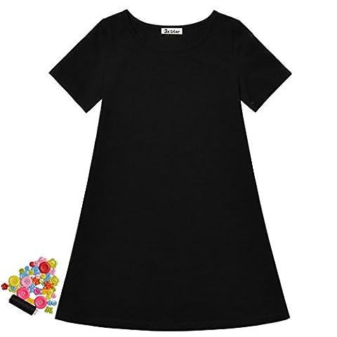 Jxstar - Robe - Trapèze - Manches Courtes - Fille 11 ans - noir - 8ans