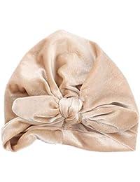 a9e818b8a2bd JOYKK Nouveau-né bébé Chapeau Chapeau élastique Oreille de Lapin Bowknot  Head Wrap Couleur Unie noué Bonnet ruché Bonnet Pleuche…