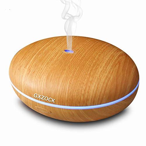 GXZOCK Aroma Diffuser aus Echtholz, Aromatherapie Diffusor für ätherische Öle mit integrierter LED-Beleuchtung (6 Farben), augrund leisen Betriebs für Wellness, Yoga und Schlafzimmer geeignet