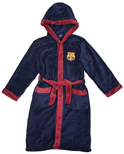 Jungen Offiziell Barcelona FCB mit Kapuze Fleece Bademantel Bademantel Größen from 3 to 12 Years - Blau, 3-4 Years (Barcelona Hoody)