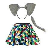 "Mums Essentials Adult, Ladies Elmer Elephant Skirt Costume Accessories Fancy Dress Costume Animal Kit (Large - 30"" waist (Skirt + Accessories))"