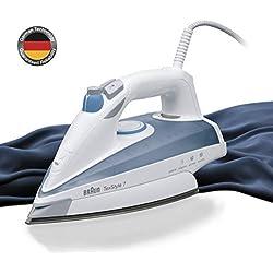 Braun Texstyle 7 TS725- Plancha ropa vapor, 2400 w, 180 g/min golpe vapor, depósito agua 400ml, sistema antigoteo, vapor vertical, acero inoxidable, blanco y azul