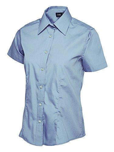 Donna Popeline Camicia a manica corta Casual formale Business Lavoro Uniforme Light Blue