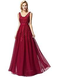 Ever-Pretty Robe de Soirée Femme Longue Tulle Col V avec Applique A Line  Élégante a328627443f