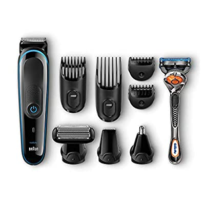 Braun 9-in-1 Precision Trimmer with Gillette Fusion ProGlide Razor MGK3080, Black/Blue