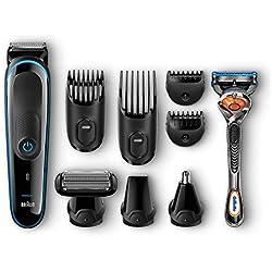 Braun MGK3080 - Set de afeitado multifunción 9 en 1, depiladora masculina, recortadora de barba, cortapelos profesional hombre, negro