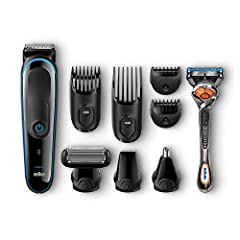 Idea Regalo - Braun MultiGrooming Kit MGK3080 Rifinitore di Precisione Regolabarba 9 in 1 per lo Styling di Barba, Corpo e Capelli con Rasoio Gillette Fusion ProGlide in Dotazione, Nero/Blu