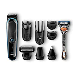 Braun Multigrooming-Set MGK3080 Elektrisches Rasierer Set, 9-In-1 Präzisionstrimmer für Bart- Und Haarstyling Mit Gillette Fusion ProGlide Rasierer, schwarz/blau