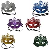 Party Propz™ Pack of 6, Shining Plated Party mask Wedding Props Masquerade Mardi gras mask