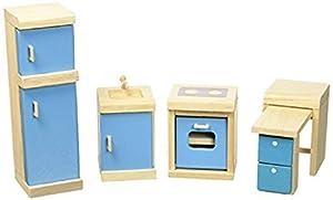 PlanToys 7310 PlanDollhouse - Cocina de madera para casa de muñecas importado de Alemania