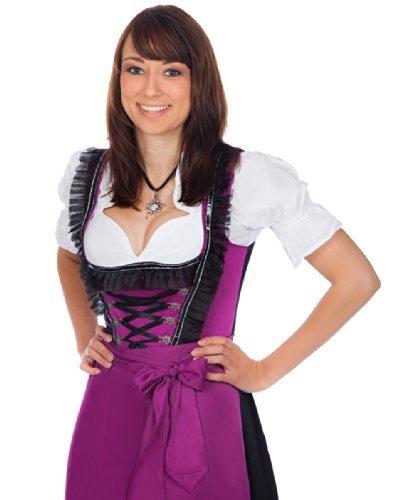 Midi Dirndl 3-teilig violett schwarz mit passender Bluse und Schürze  , Violett , 42