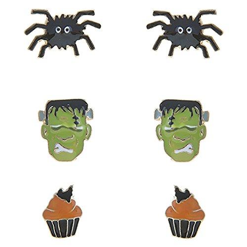 alloween-Kostüm Schmuck Spider Frankenstein Cupcake 3Sets Mini Ohrringe E1221 ()