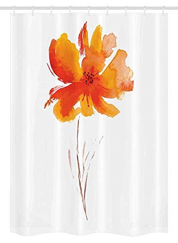 66x72 pollici tenda da doccia per acquerelli con fiori,singolo fiore di papavero su sfondo chiaro tinta unita ispirato alla natura,arredamento bagno in tessuto set con ganci,bianco arancio