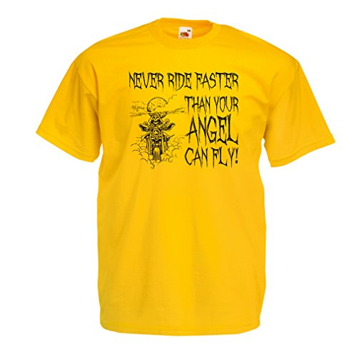 lepni.me N4694 T-Shirt da Uomo Motorcycle Quotes Sayings for Bikers (X-Large Giallo