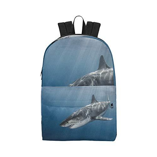 b5f297cbbc7c Fierce Awful Shark Classic Cute Waterproof Daypack Bags School College  Causal Backpacks Rucksacks Bookbag for Kids Women and Men Travel with  Zipper ...