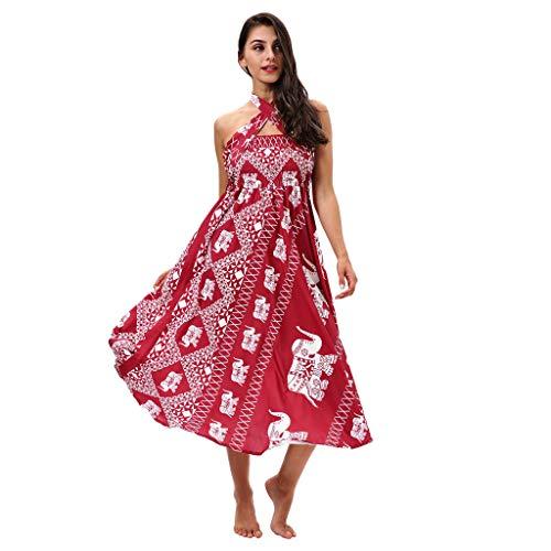 Kleid, Frauen Lange Hippie böhmischen Zigeuner Boho Blumen elastische Taille Blumen Halter Rock Female Stilvoll Tunika-Kleid Cocktailkleid, LEORTKS Gossip Girl Mode