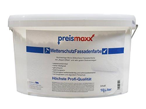 Wetterschutz Fassadenfarbe, weiß, 10 Liter, mit selsbtreinigendem Abperleffekt, hochwertige, schmutzabweisende Aussen-Dispersion, sehr guter Regenschutz