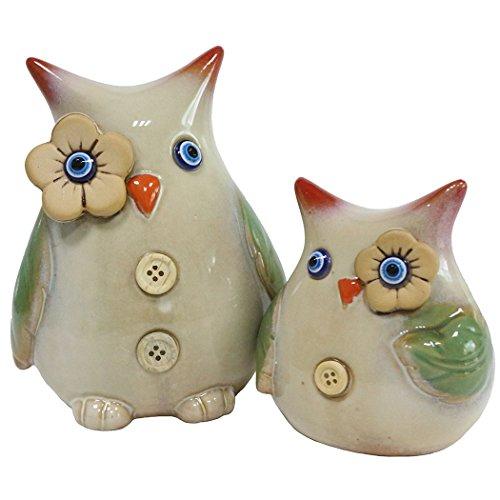 jarown 2Creative Keramik Eulen Figur Statuen Animal Ornament für Haus Erwärmung Geschenk Tischplatte Regal Home Dekorative