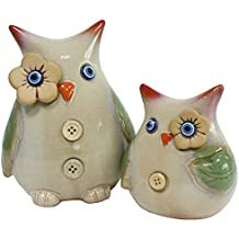 jarown 2pcs creativo cerámica búhos figura decorativa estatuas Animal adorno para casa regalo de mesa estante