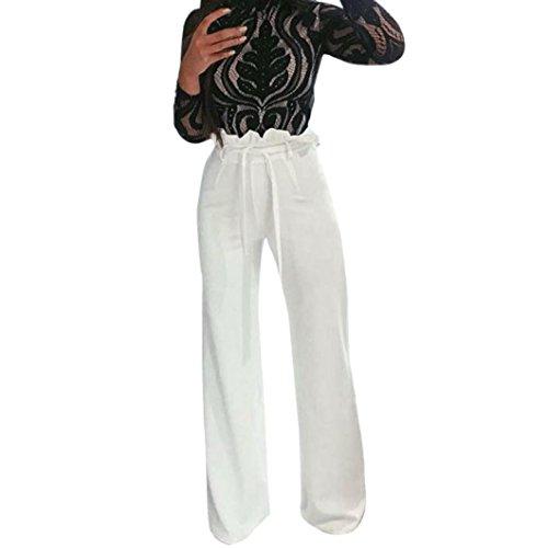 Damen Hose, Frauen Mode Beiläufige High Waist Wide Leg Einfarbig Cargohose Slim Fit Freizeithose Haremshose Casual Lose Lange Hose Streetwear Outdoorhose- 4 Farben (Weiß,L)