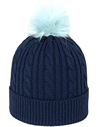 79156550b63 4F Women s Winter Hat CAD005 Slouch Beanie Winter Hat Warm Knitted Hat with  Bobble Hat
