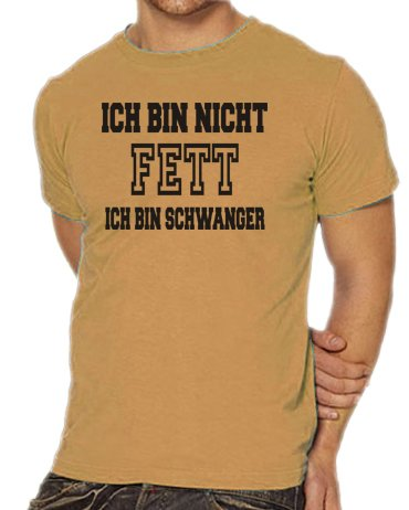 Touchlines Unisex/Herren T-Shirt Ich bin nicht FETT - Ich bin SCHWANGER sand (Kostüme Fett Sand Halloween)