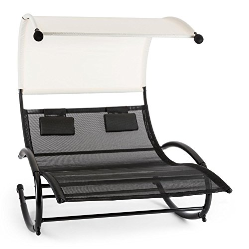 Blumfeldt Suncruise - Double transat à Bascule/Chaise Longue pour Deux avec auvent (Acier Solide, oreillers Inclus) - Noir/crème
